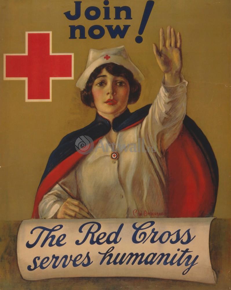 Плакат Плакат 20 века Присоединяйтесь сейчас! Красный Крест служит человечеству, 20x25 см, на бумагеРеклама<br>Постер на холсте или бумаге. Любого нужного вам размера. В раме или без. Подвес в комплекте. Трехслойная надежная упаковка. Доставим в любую точку России. Вам осталось только повесить картину на стену!<br>