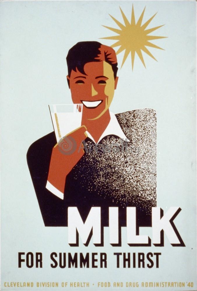 Плакат Плакат 20 века Молоко от летней жажды, 20x30 см, на бумагеСоциальная реклама<br>Постер на холсте или бумаге. Любого нужного вам размера. В раме или без. Подвес в комплекте. Трехслойная надежная упаковка. Доставим в любую точку России. Вам осталось только повесить картину на стену!<br>