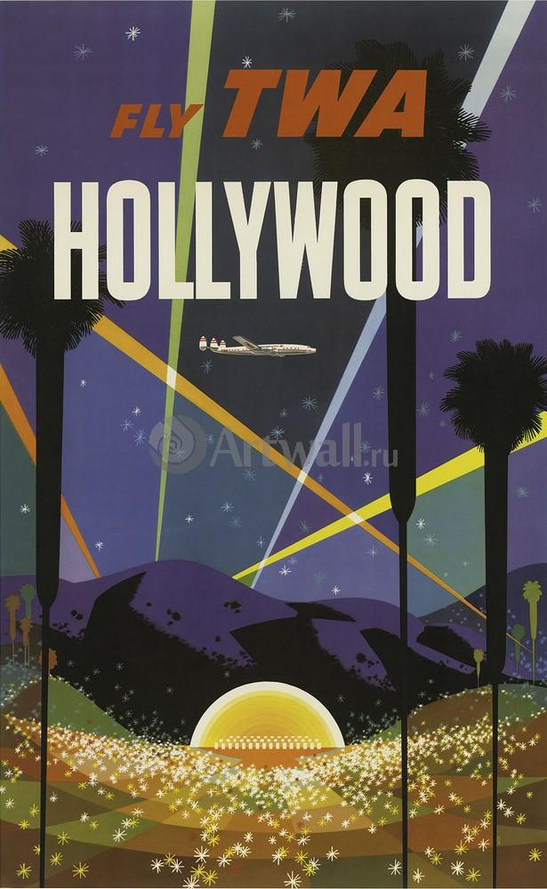 Плакат Плакат 20 века Fly TWA Голливуд, 20x33 см, на бумагеСпорт<br>Постер на холсте или бумаге. Любого нужного вам размера. В раме или без. Подвес в комплекте. Трехслойная надежная упаковка. Доставим в любую точку России. Вам осталось только повесить картину на стену!<br>