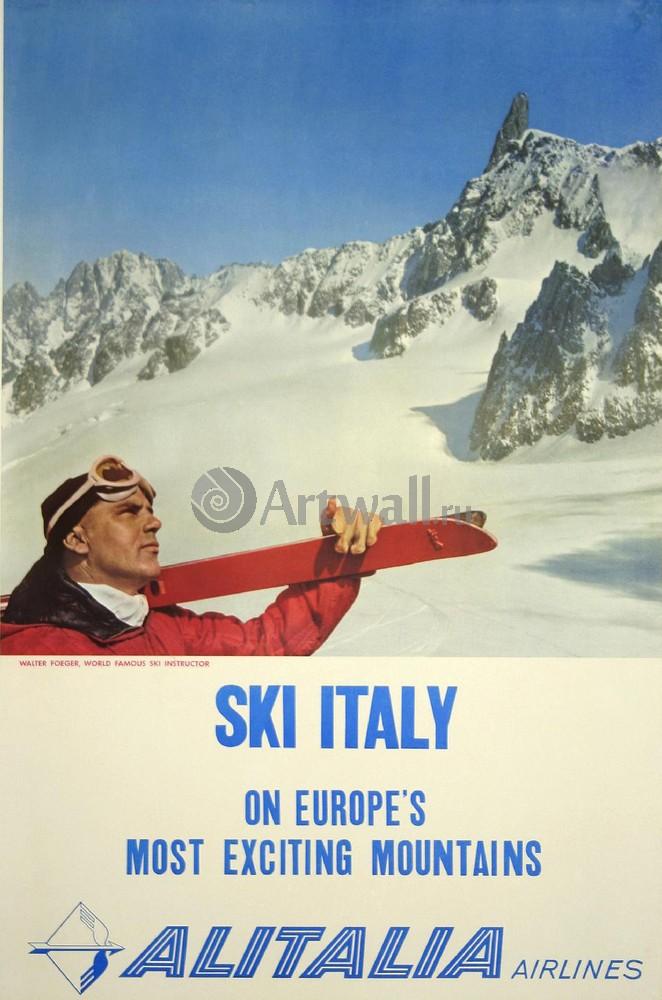 Плакат Плакат 20 века Лыжная Италия, самые интересные горы Европы, Alitalia Airlines, 20x30 см, на бумагеСпорт<br>Постер на холсте или бумаге. Любого нужного вам размера. В раме или без. Подвес в комплекте. Трехслойная надежная упаковка. Доставим в любую точку России. Вам осталось только повесить картину на стену!<br>