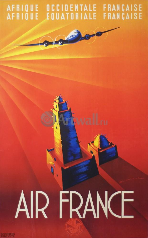 Плакат Плакат 20 века Air France, Afrique OccidentaleEquatoriale Francaise, 20x32 см, на бумагеТуризм<br>Постер на холсте или бумаге. Любого нужного вам размера. В раме или без. Подвес в комплекте. Трехслойная надежная упаковка. Доставим в любую точку России. Вам осталось только повесить картину на стену!<br>