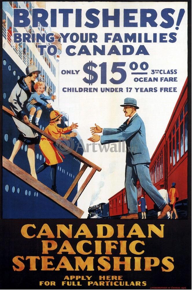 Плакат Плакат 20 века Bring Your Families to Canada, 20x30 см, на бумагеТуризм<br>Постер на холсте или бумаге. Любого нужного вам размера. В раме или без. Подвес в комплекте. Трехслойная надежная упаковка. Доставим в любую точку России. Вам осталось только повесить картину на стену!<br>