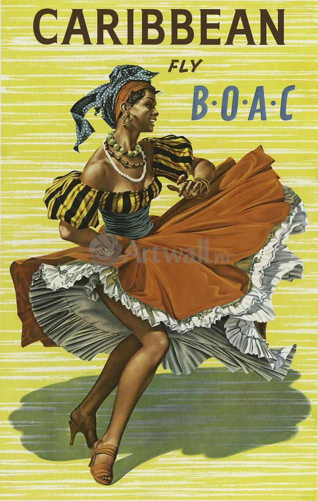 Плакат Плакат 20 века Caribbean, Fly B.O.A.C., 20x32 см, на бумагеТуризм<br>Постер на холсте или бумаге. Любого нужного вам размера. В раме или без. Подвес в комплекте. Трехслойная надежная упаковка. Доставим в любую точку России. Вам осталось только повесить картину на стену!<br>