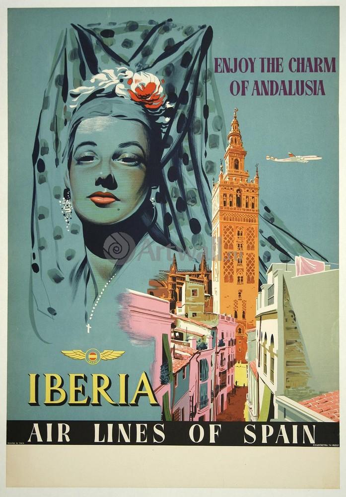 Плакат Плакат 20 века Enjoy the Charm of Andalusia, Iberia, Airlines of Spain, 20x29 см, на бумагеТуризм<br>Постер на холсте или бумаге. Любого нужного вам размера. В раме или без. Подвес в комплекте. Трехслойная надежная упаковка. Доставим в любую точку России. Вам осталось только повесить картину на стену!<br>