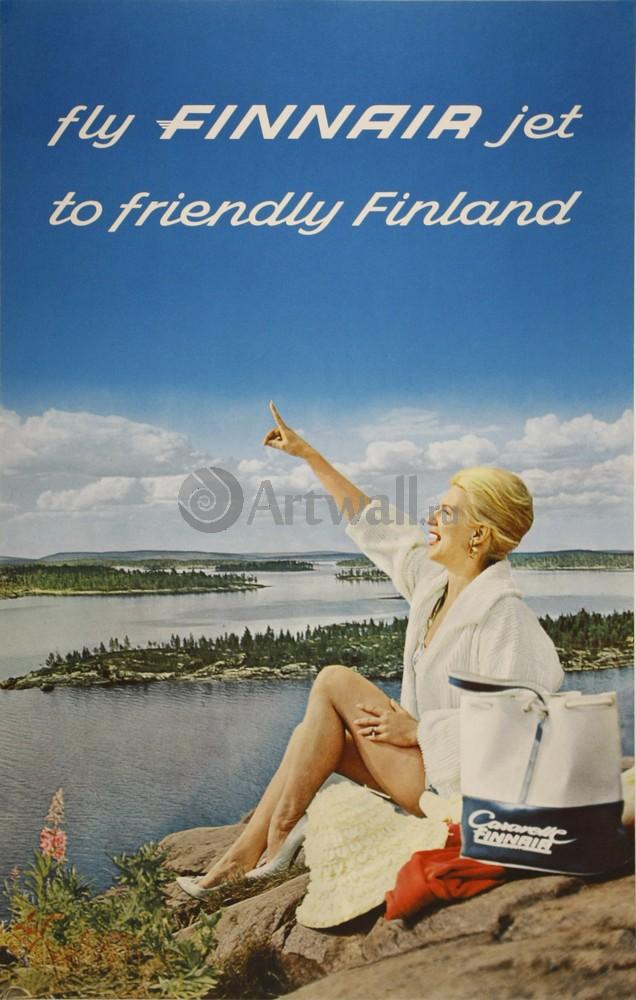 Плакат Плакат 20 века Fly Finnair Jet to Friendly Finland, 20x31 см, на бумагеТуризм<br>Постер на холсте или бумаге. Любого нужного вам размера. В раме или без. Подвес в комплекте. Трехслойная надежная упаковка. Доставим в любую точку России. Вам осталось только повесить картину на стену!<br>