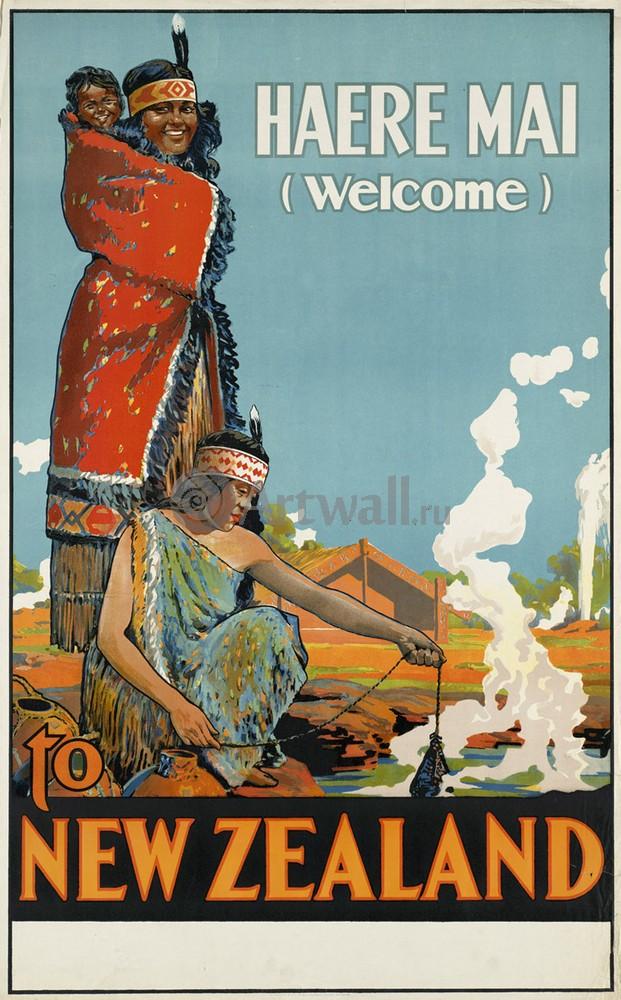 Плакат Плакат 20 века Haere Mai, Добро пожаловать в Новую Зеландию, 20x32 см, на бумагеТуризм<br>Постер на холсте или бумаге. Любого нужного вам размера. В раме или без. Подвес в комплекте. Трехслойная надежная упаковка. Доставим в любую точку России. Вам осталось только повесить картину на стену!<br>