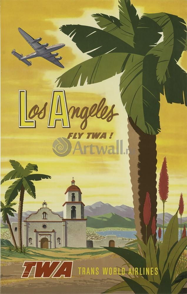 Los Angeles fly TWA!, 20x31 см, на бумагеТуризм<br>Постер на холсте или бумаге. Любого нужного вам размера. В раме или без. Подвес в комплекте. Трехслойная надежная упаковка. Доставим в любую точку России. Вам осталось только повесить картину на стену!<br>