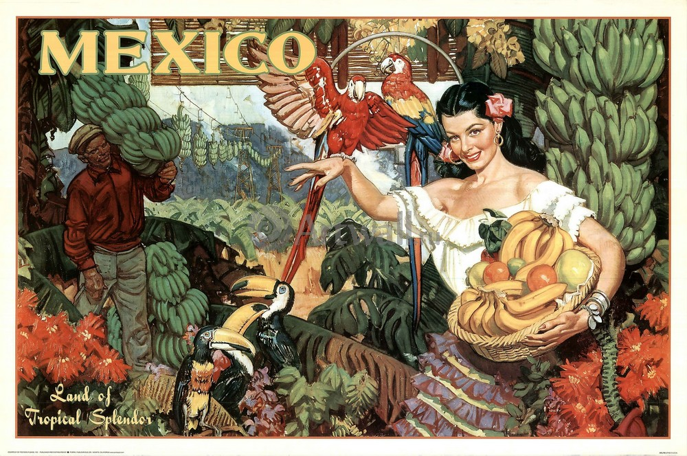 Плакат Плакат 20 века Mexico, Land of Tropical Spendor, 30x20 см, на бумагеТуризм<br>Постер на холсте или бумаге. Любого нужного вам размера. В раме или без. Подвес в комплекте. Трехслойная надежная упаковка. Доставим в любую точку России. Вам осталось только повесить картину на стену!<br>