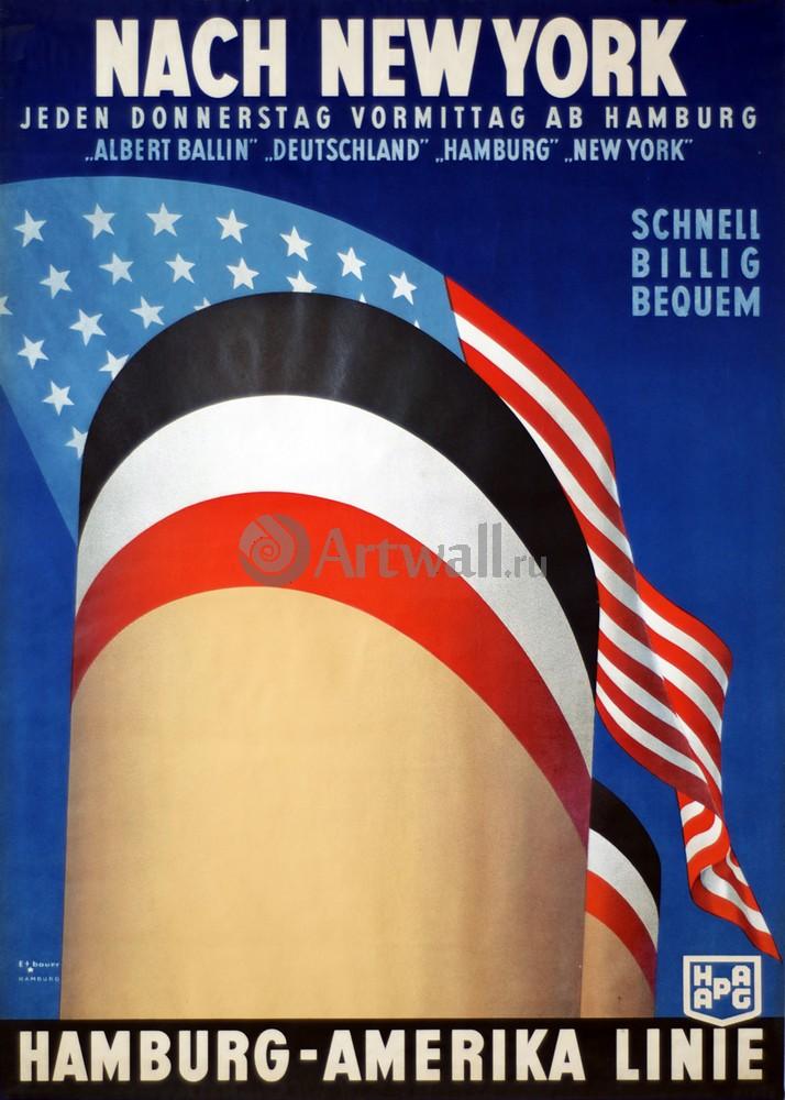 Плакат Плакат 20 века Nach New York, Hamburg-Amerika Linie, 20x28 см, на бумагеТуризм<br>Постер на холсте или бумаге. Любого нужного вам размера. В раме или без. Подвес в комплекте. Трехслойная надежная упаковка. Доставим в любую точку России. Вам осталось только повесить картину на стену!<br>
