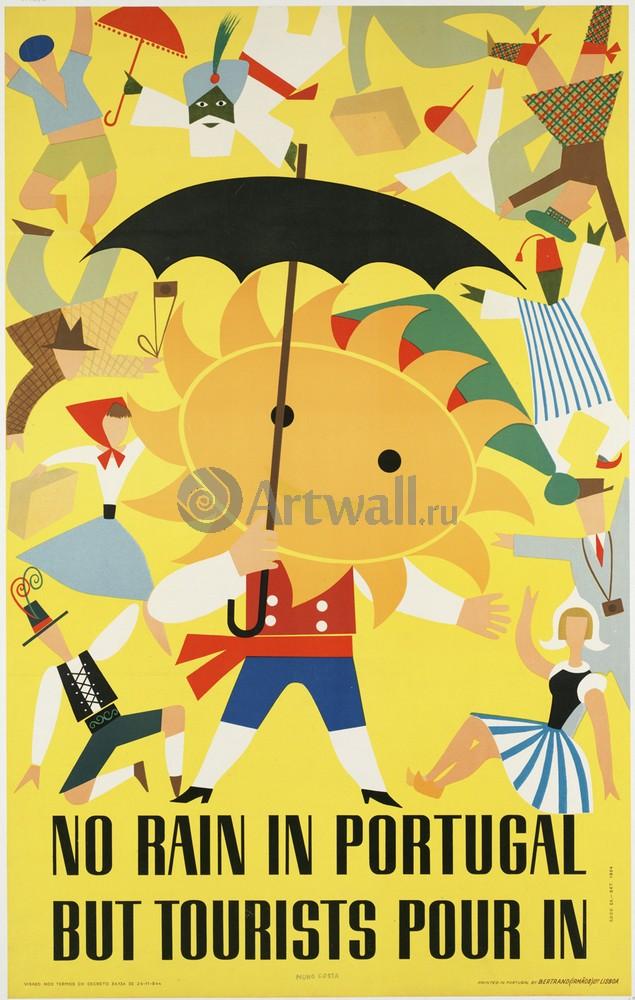 Плакат Плакат 20 века No Rain in Portugal But Tourists Pour In, 20x31 см, на бумагеТуризм<br>Постер на холсте или бумаге. Любого нужного вам размера. В раме или без. Подвес в комплекте. Трехслойная надежная упаковка. Доставим в любую точку России. Вам осталось только повесить картину на стену!<br>