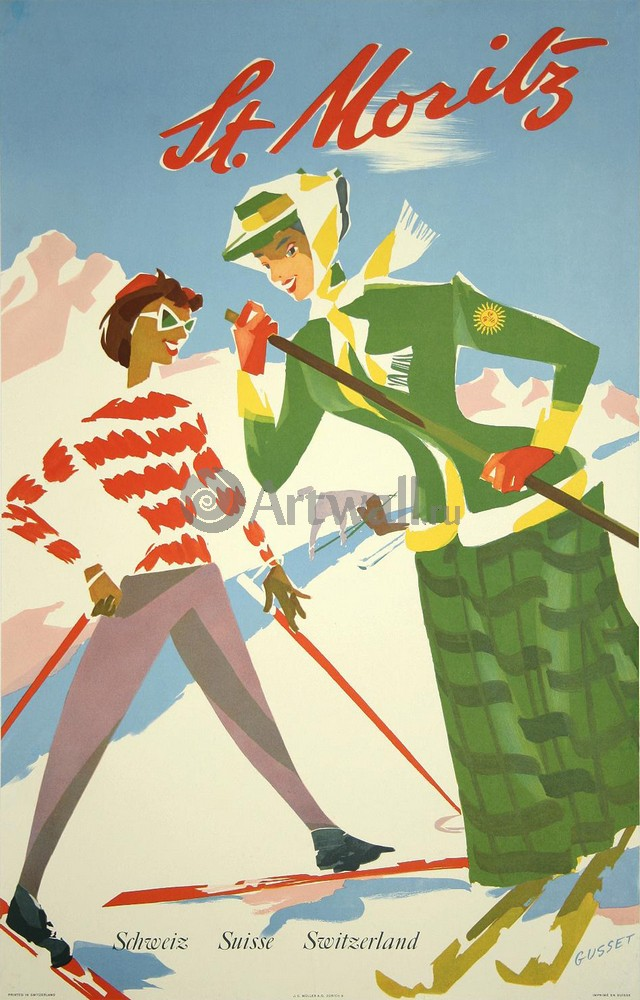 Плакат Плакат 20 века St. Moritz, Schweiz Suisse Switzerland, 20x31 см, на бумагеТуризм<br>Постер на холсте или бумаге. Любого нужного вам размера. В раме или без. Подвес в комплекте. Трехслойная надежная упаковка. Доставим в любую точку России. Вам осталось только повесить картину на стену!<br>