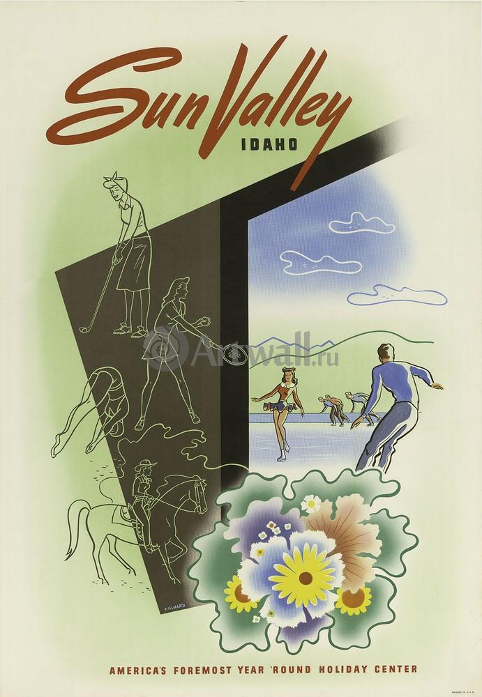 Плакат Плакат 20 века Sun Valley, Idaho, Americas Foremost Year Round Holiday Center, 20x29 см, на бумагеТуризм<br>Постер на холсте или бумаге. Любого нужного вам размера. В раме или без. Подвес в комплекте. Трехслойная надежная упаковка. Доставим в любую точку России. Вам осталось только повесить картину на стену!<br>