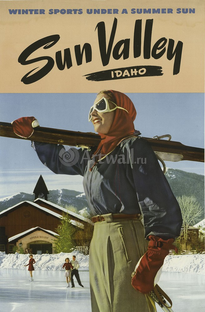 Плакат Плакат 20 века Sun Valley, штат Айдахо, Зимние виды спорта, 20x30 см, на бумагеТуризм<br>Постер на холсте или бумаге. Любого нужного вам размера. В раме или без. Подвес в комплекте. Трехслойная надежная упаковка. Доставим в любую точку России. Вам осталось только повесить картину на стену!<br>