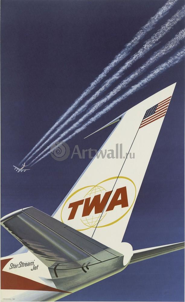 Плакат Плакат 20 века TWA, Trans World Airlines, 20x33 см, на бумагеТуризм<br>Постер на холсте или бумаге. Любого нужного вам размера. В раме или без. Подвес в комплекте. Трехслойная надежная упаковка. Доставим в любую точку России. Вам осталось только повесить картину на стену!<br>