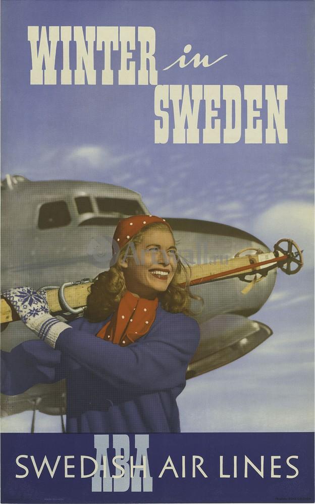 Плакат Плакат 20 века Winter in Sweden, ABA, Swedish Air Lines, 20x32 см, на бумагеТуризм<br>Постер на холсте или бумаге. Любого нужного вам размера. В раме или без. Подвес в комплекте. Трехслойная надежная упаковка. Доставим в любую точку России. Вам осталось только повесить картину на стену!<br>