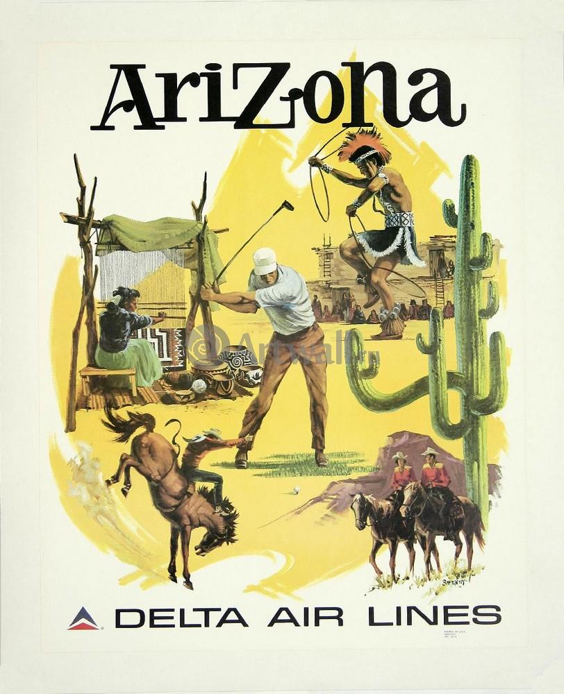 Плакат Плакат 20 века Аризона, Delta Air Lines, 20x25 см, на бумагеТуризм<br>Постер на холсте или бумаге. Любого нужного вам размера. В раме или без. Подвес в комплекте. Трехслойная надежная упаковка. Доставим в любую точку России. Вам осталось только повесить картину на стену!<br>