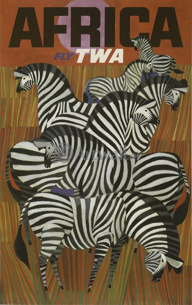 Плакат Туризм Африканский Fly TWA, 20x32 см, на бумагеТуризм<br>Постер на холсте или бумаге. Любого нужного вам размера. В раме или без. Подвес в комплекте. Трехслойная надежная упаковка. Доставим в любую точку России. Вам осталось только повесить картину на стену!<br>