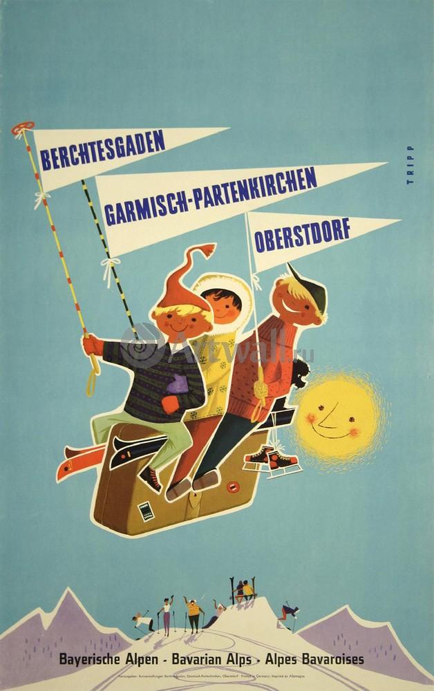 Плакат Плакат 20 века Баварские Альпы, Германия, Австрия, 20x32 см, на бумагеТуризм<br>Постер на холсте или бумаге. Любого нужного вам размера. В раме или без. Подвес в комплекте. Трехслойная надежная упаковка. Доставим в любую точку России. Вам осталось только повесить картину на стену!<br>