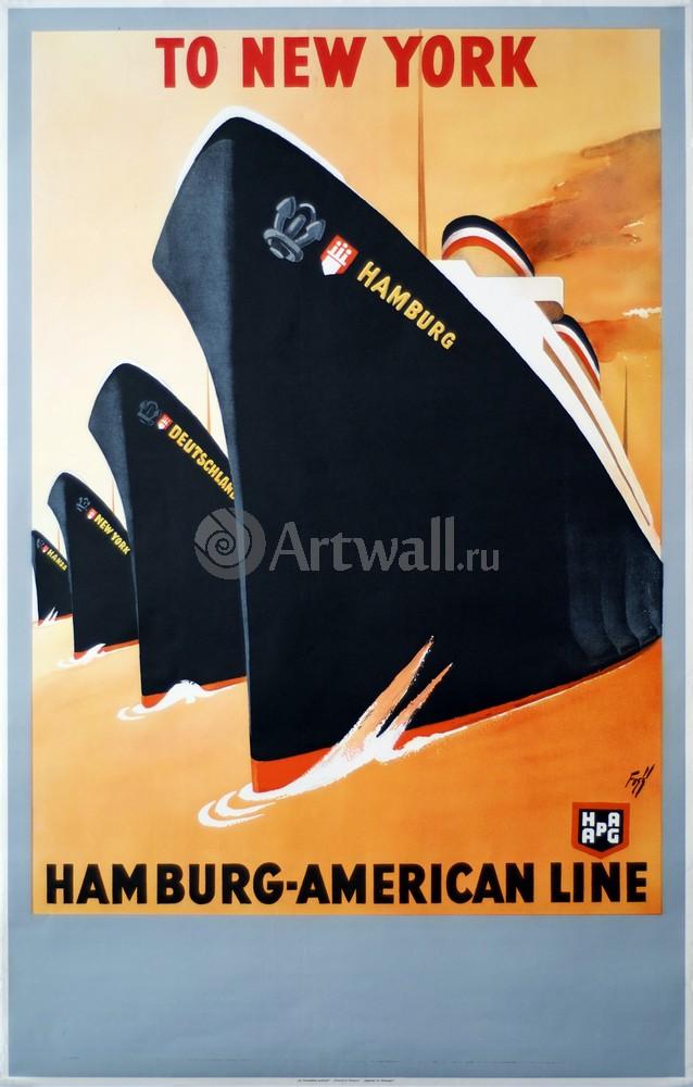Плакат Плакат 20 века В Нью-Йорк, Гамбург-американской линии, 20x31 см, на бумагеТуризм<br>Постер на холсте или бумаге. Любого нужного вам размера. В раме или без. Подвес в комплекте. Трехслойная надежная упаковка. Доставим в любую точку России. Вам осталось только повесить картину на стену!<br>