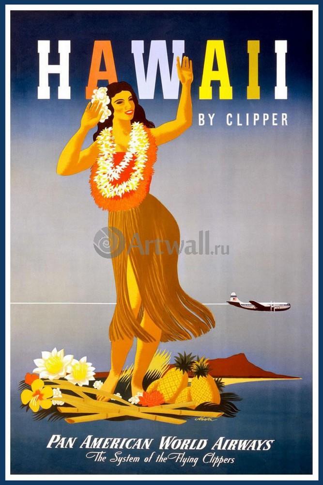 Плакат Плакат 20 века Гаваи, by Clipper, Pan American World Airways, 20x30 см, на бумагеТуризм<br>Постер на холсте или бумаге. Любого нужного вам размера. В раме или без. Подвес в комплекте. Трехслойная надежная упаковка. Доставим в любую точку России. Вам осталось только повесить картину на стену!<br>
