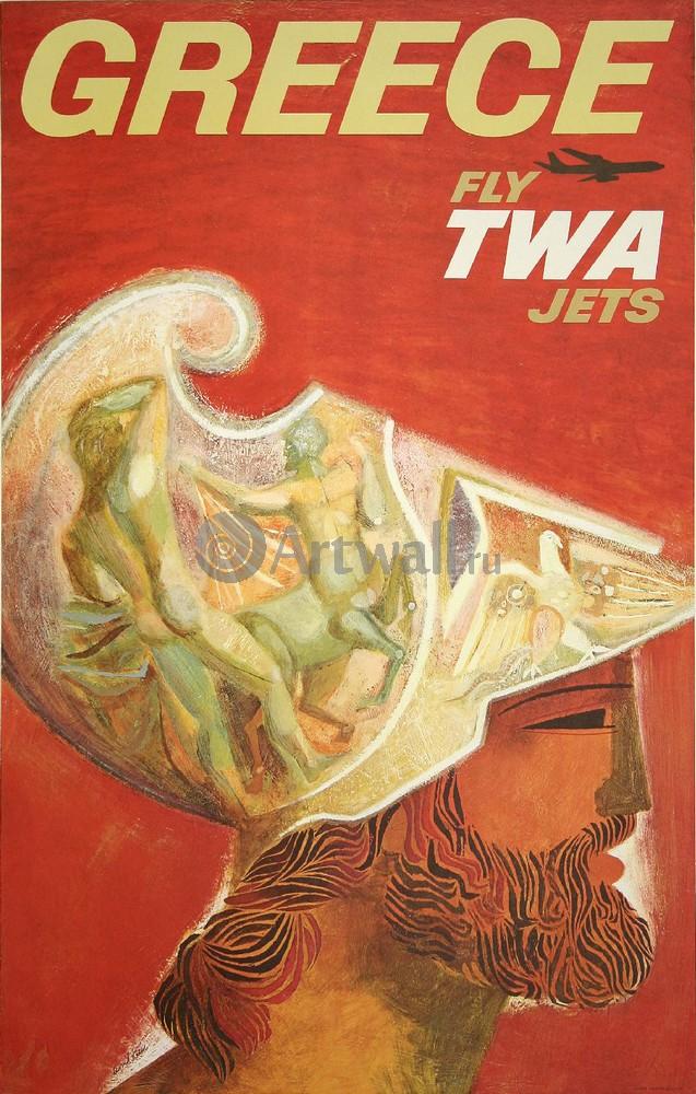 Плакат Плакат 20 века Греция, Fly TWA Jets, 20x31 см, на бумагеТуризм<br>Постер на холсте или бумаге. Любого нужного вам размера. В раме или без. Подвес в комплекте. Трехслойная надежная упаковка. Доставим в любую точку России. Вам осталось только повесить картину на стену!<br>