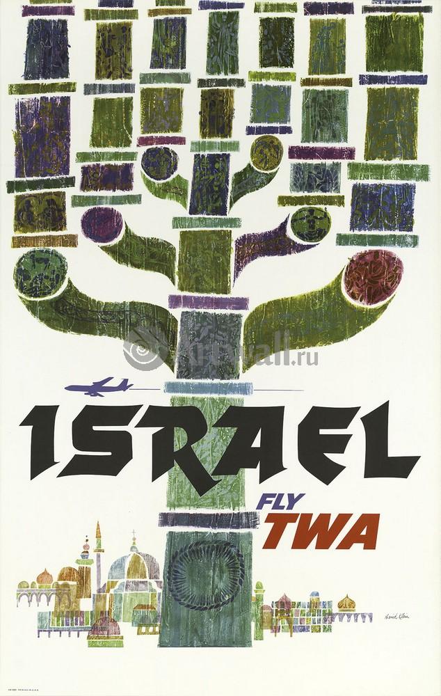 Плакат Плакат 20 века Израиль Fly TWA, 20x32 см, на бумагеТуризм<br>Постер на холсте или бумаге. Любого нужного вам размера. В раме или без. Подвес в комплекте. Трехслойная надежная упаковка. Доставим в любую точку России. Вам осталось только повесить картину на стену!<br>
