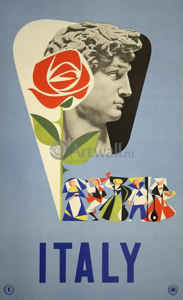 Плакат Плакат 20 века Италия, 20x33 см, на бумагеТуризм<br>Постер на холсте или бумаге. Любого нужного вам размера. В раме или без. Подвес в комплекте. Трехслойная надежная упаковка. Доставим в любую точку России. Вам осталось только повесить картину на стену!<br>