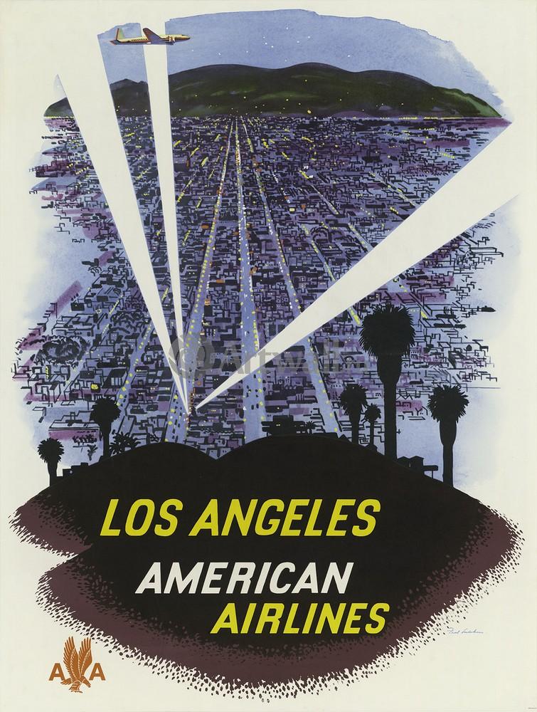 Плакат Плакат 20 века Лос-Анджелес, American Airlines, 20x26 см, на бумагеТуризм<br>Постер на холсте или бумаге. Любого нужного вам размера. В раме или без. Подвес в комплекте. Трехслойная надежная упаковка. Доставим в любую точку России. Вам осталось только повесить картину на стену!<br>