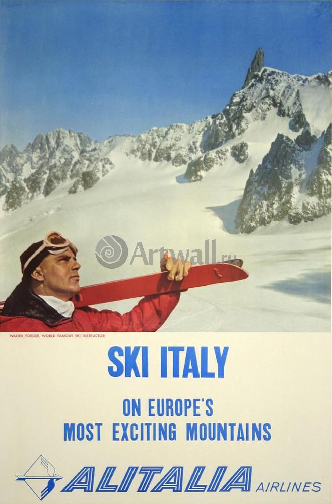Плакат Плакат 20 века Лыжная Италия, самые интересные горы Европы, Alitalia Airlines, 20x30 см, на бумагеТуризм<br>Постер на холсте или бумаге. Любого нужного вам размера. В раме или без. Подвес в комплекте. Трехслойная надежная упаковка. Доставим в любую точку России. Вам осталось только повесить картину на стену!<br>