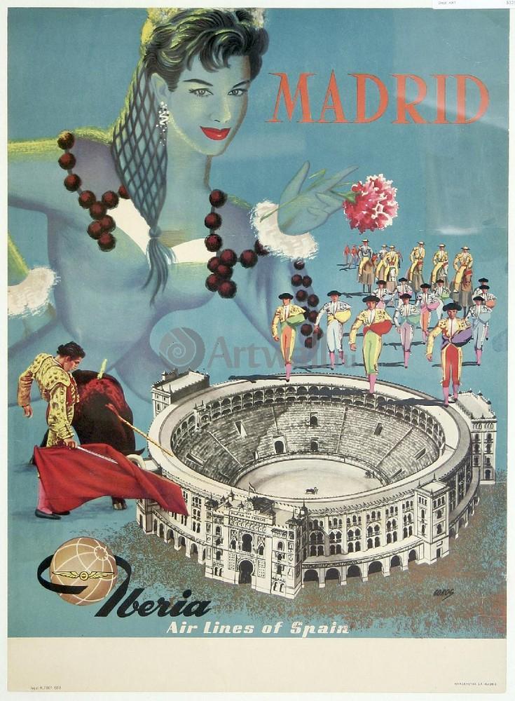 Плакат Плакат 20 века Мадрид, Iberia Airlines, 20x27 см, на бумагеТуризм<br>Постер на холсте или бумаге. Любого нужного вам размера. В раме или без. Подвес в комплекте. Трехслойная надежная упаковка. Доставим в любую точку России. Вам осталось только повесить картину на стену!<br>