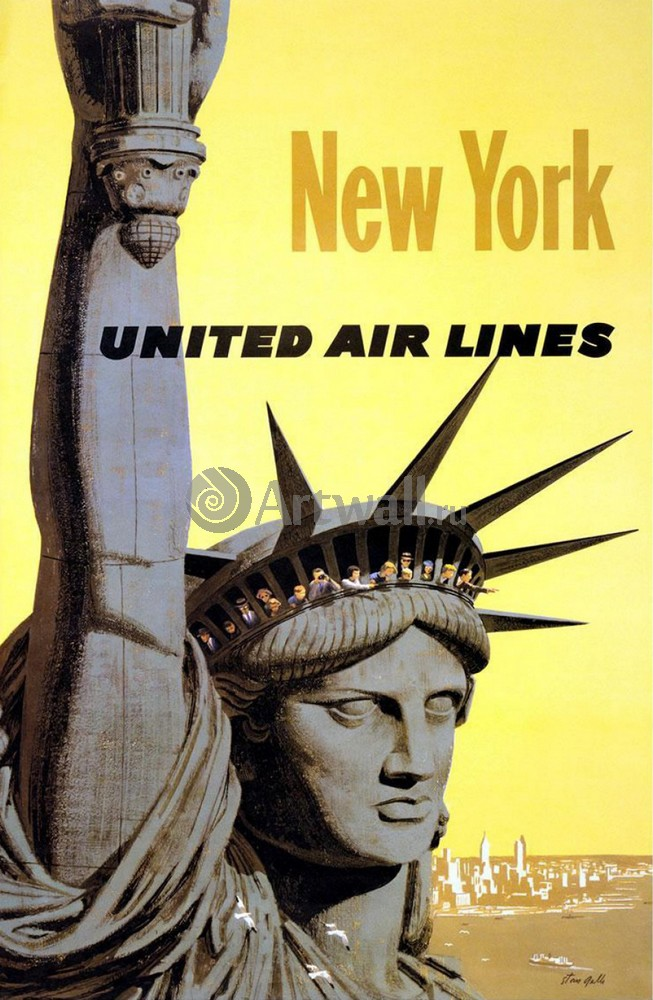 Плакат Плакат 20 века Нью-Йорк, United Air Line, 20x31 см, на бумагеТуризм<br>Постер на холсте или бумаге. Любого нужного вам размера. В раме или без. Подвес в комплекте. Трехслойная надежная упаковка. Доставим в любую точку России. Вам осталось только повесить картину на стену!<br>