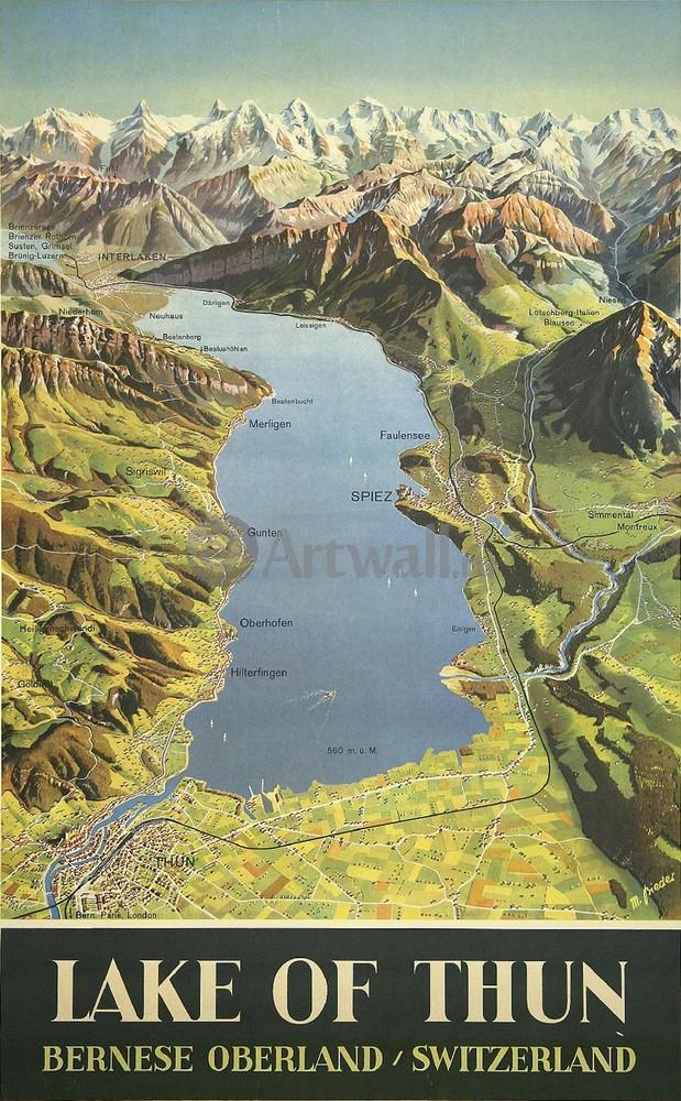 Плакат Плакат 20 века Озеро Тун, Бернский Оберланд, Швейцария, 20x32 см, на бумагеТуризм<br>Постер на холсте или бумаге. Любого нужного вам размера. В раме или без. Подвес в комплекте. Трехслойная надежная упаковка. Доставим в любую точку России. Вам осталось только повесить картину на стену!<br>