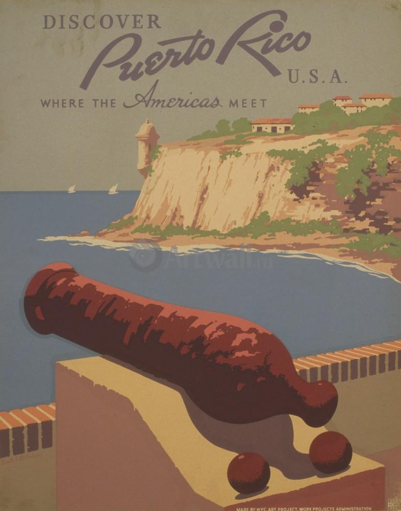 Плакат Плакат 20 века Откройте Пуэрто-Рико США, Знакомство с Америкой, 20x25 см, на бумагеТуризм<br>Постер на холсте или бумаге. Любого нужного вам размера. В раме или без. Подвес в комплекте. Трехслойная надежная упаковка. Доставим в любую точку России. Вам осталось только повесить картину на стену!<br>