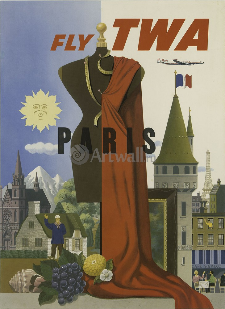 Париж, Fly TWA, 20x27 см, на бумагеТуризм<br>Постер на холсте или бумаге. Любого нужного вам размера. В раме или без. Подвес в комплекте. Трехслойная надежная упаковка. Доставим в любую точку России. Вам осталось только повесить картину на стену!<br>