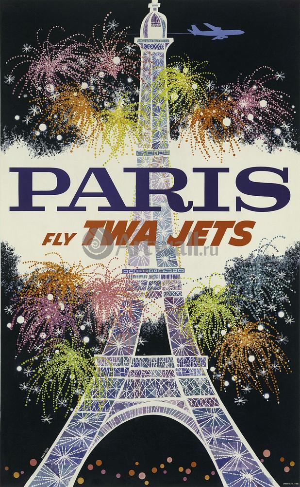 Плакат Плакат 20 века Париж Fly TWA Jets, 20x32 см, на бумагеТуризм<br>Постер на холсте или бумаге. Любого нужного вам размера. В раме или без. Подвес в комплекте. Трехслойная надежная упаковка. Доставим в любую точку России. Вам осталось только повесить картину на стену!<br>
