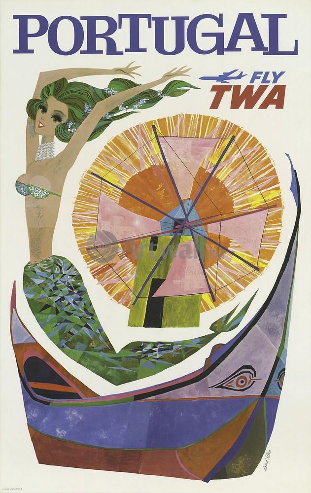 Плакат Плакат 20 века Португалия Fly TWA, 20x32 см, на бумагеТуризм<br>Постер на холсте или бумаге. Любого нужного вам размера. В раме или без. Подвес в комплекте. Трехслойная надежная упаковка. Доставим в любую точку России. Вам осталось только повесить картину на стену!<br>