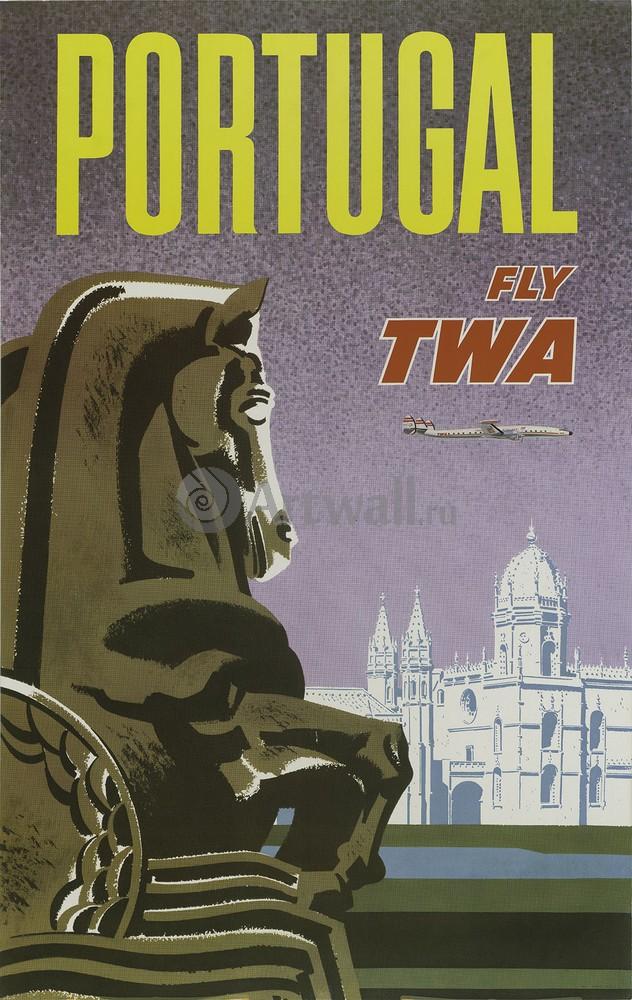 Плакат Плакат 20 века Португалия Fly TWA (2), 20x32 см, на бумагеТуризм<br>Постер на холсте или бумаге. Любого нужного вам размера. В раме или без. Подвес в комплекте. Трехслойная надежная упаковка. Доставим в любую точку России. Вам осталось только повесить картину на стену!<br>