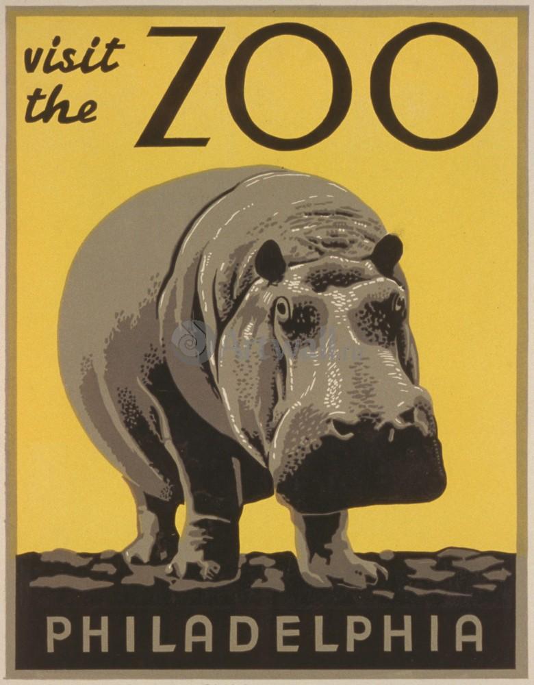 Плакат Плакат 20 века Посетите Зоопарк Филадельфии, 20x26 см, на бумагеТуризм<br>Постер на холсте или бумаге. Любого нужного вам размера. В раме или без. Подвес в комплекте. Трехслойная надежная упаковка. Доставим в любую точку России. Вам осталось только повесить картину на стену!<br>