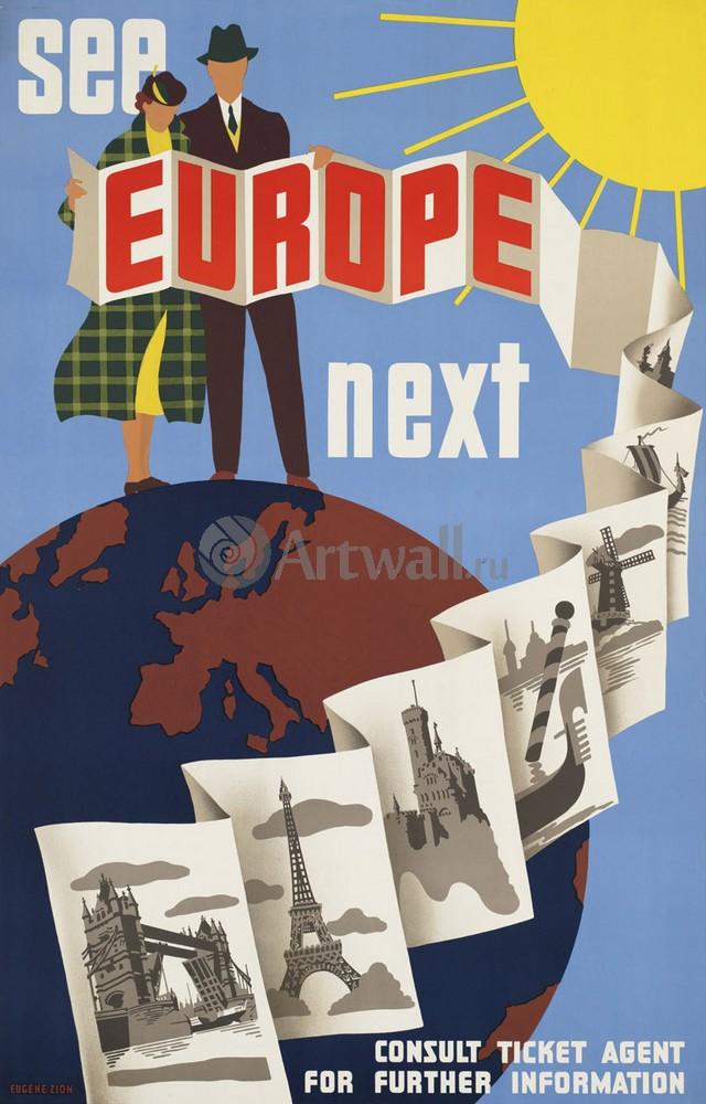 Плакат Плакат 20 века Посетить Европу в будущем, 20x31 см, на бумагеТуризм<br>Постер на холсте или бумаге. Любого нужного вам размера. В раме или без. Подвес в комплекте. Трехслойная надежная упаковка. Доставим в любую точку России. Вам осталось только повесить картину на стену!<br>