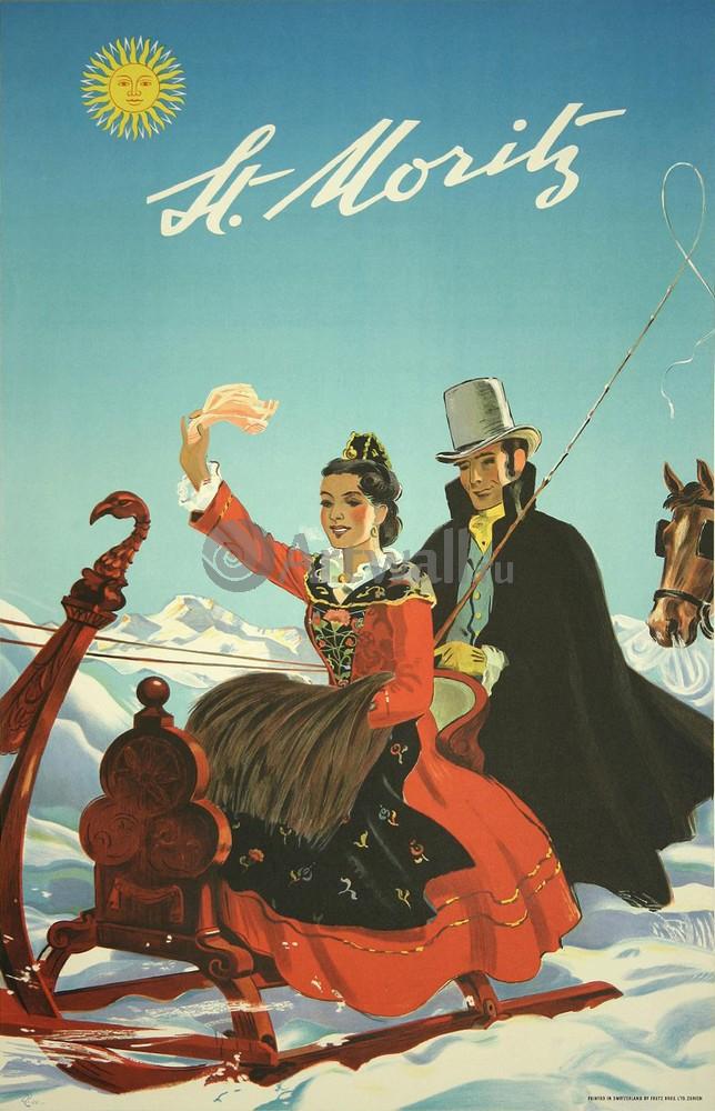 Плакат Плакат 20 века Санкт-Мориц, Швейцария, 20x31 см, на бумагеТуризм<br>Постер на холсте или бумаге. Любого нужного вам размера. В раме или без. Подвес в комплекте. Трехслойная надежная упаковка. Доставим в любую точку России. Вам осталось только повесить картину на стену!<br>