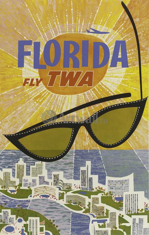 Плакат Туризм Флорида Fly TWA, 20x32 см, на бумагеТуризм<br>Постер на холсте или бумаге. Любого нужного вам размера. В раме или без. Подвес в комплекте. Трехслойная надежная упаковка. Доставим в любую точку России. Вам осталось только повесить картину на стену!<br>