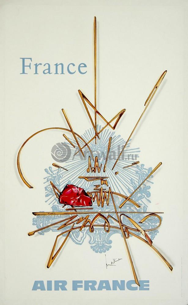 Плакат Плакат 20 века Франция, Air France, 20x33 см, на бумагеТуризм<br>Постер на холсте или бумаге. Любого нужного вам размера. В раме или без. Подвес в комплекте. Трехслойная надежная упаковка. Доставим в любую точку России. Вам осталось только повесить картину на стену!<br>