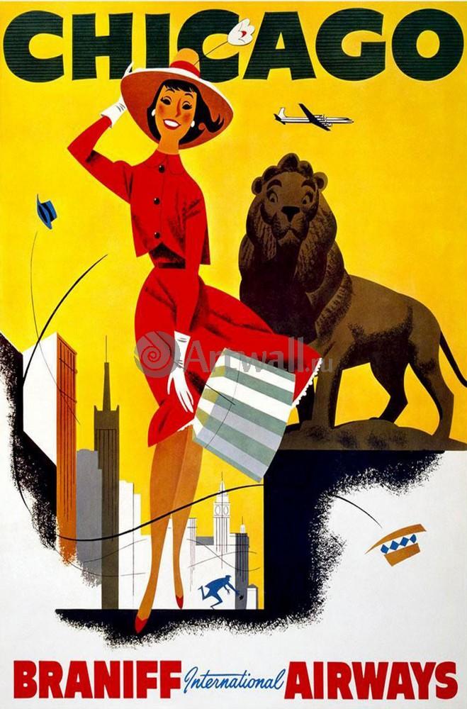Плакат Плакат 20 века Чикаго, Braniff International Airways, 20x30 см, на бумагеТуризм<br>Постер на холсте или бумаге. Любого нужного вам размера. В раме или без. Подвес в комплекте. Трехслойная надежная упаковка. Доставим в любую точку России. Вам осталось только повесить картину на стену!<br>