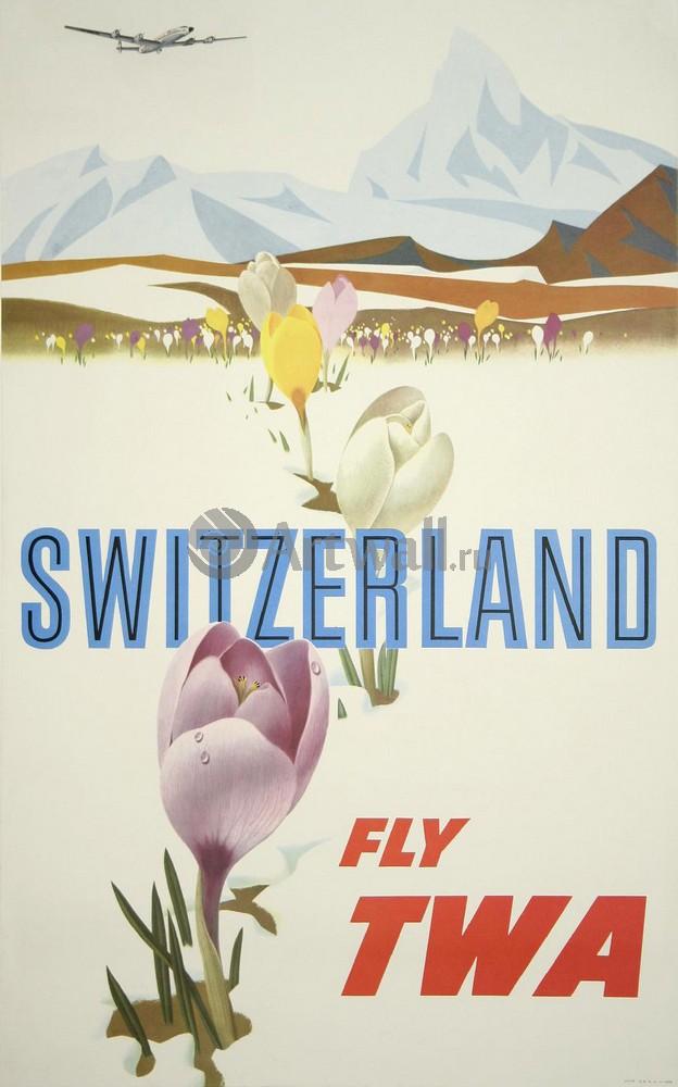 Швейцария, Fly TWA, 20x32 см, на бумагеТуризм<br>Постер на холсте или бумаге. Любого нужного вам размера. В раме или без. Подвес в комплекте. Трехслойная надежная упаковка. Доставим в любую точку России. Вам осталось только повесить картину на стену!<br>