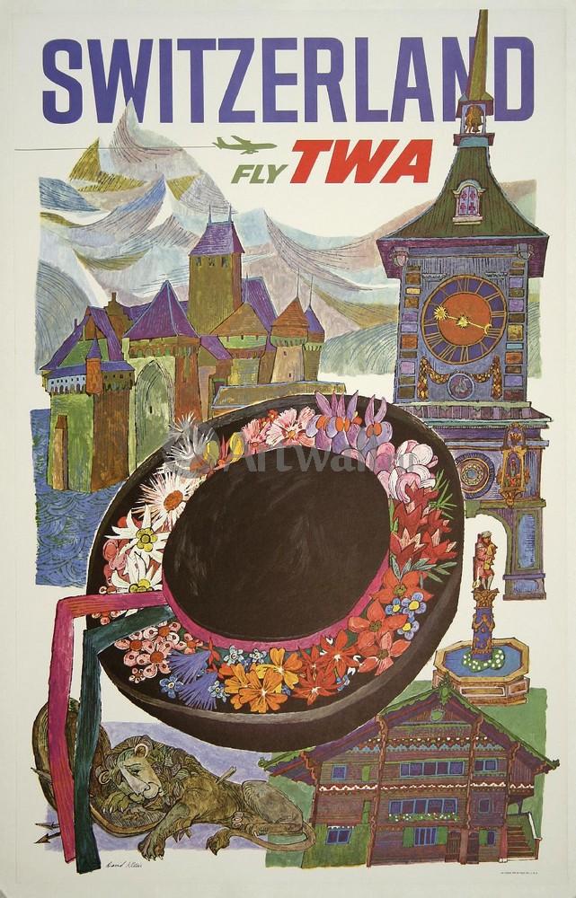 Плакат Плакат 20 века Швейцария Fly TWA, 20x31 см, на бумагеТуризм<br>Постер на холсте или бумаге. Любого нужного вам размера. В раме или без. Подвес в комплекте. Трехслойная надежная упаковка. Доставим в любую точку России. Вам осталось только повесить картину на стену!<br>