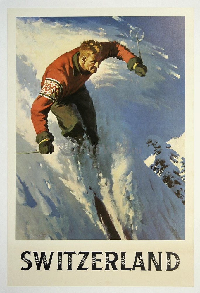 Плакат Плакат 20 века Швейцария Катание на лыжах, 20x29 см, на бумагеТуризм<br>Постер на холсте или бумаге. Любого нужного вам размера. В раме или без. Подвес в комплекте. Трехслойная надежная упаковка. Доставим в любую точку России. Вам осталось только повесить картину на стену!<br>