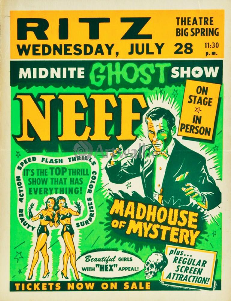 Плакат Плакат 20 века Midnite Ghost Show, Dr. Neff, Madhouse of Mystery, 20x26 см, на бумагеКино<br>Постер на холсте или бумаге. Любого нужного вам размера. В раме или без. Подвес в комплекте. Трехслойная надежная упаковка. Доставим в любую точку России. Вам осталось только повесить картину на стену!<br>