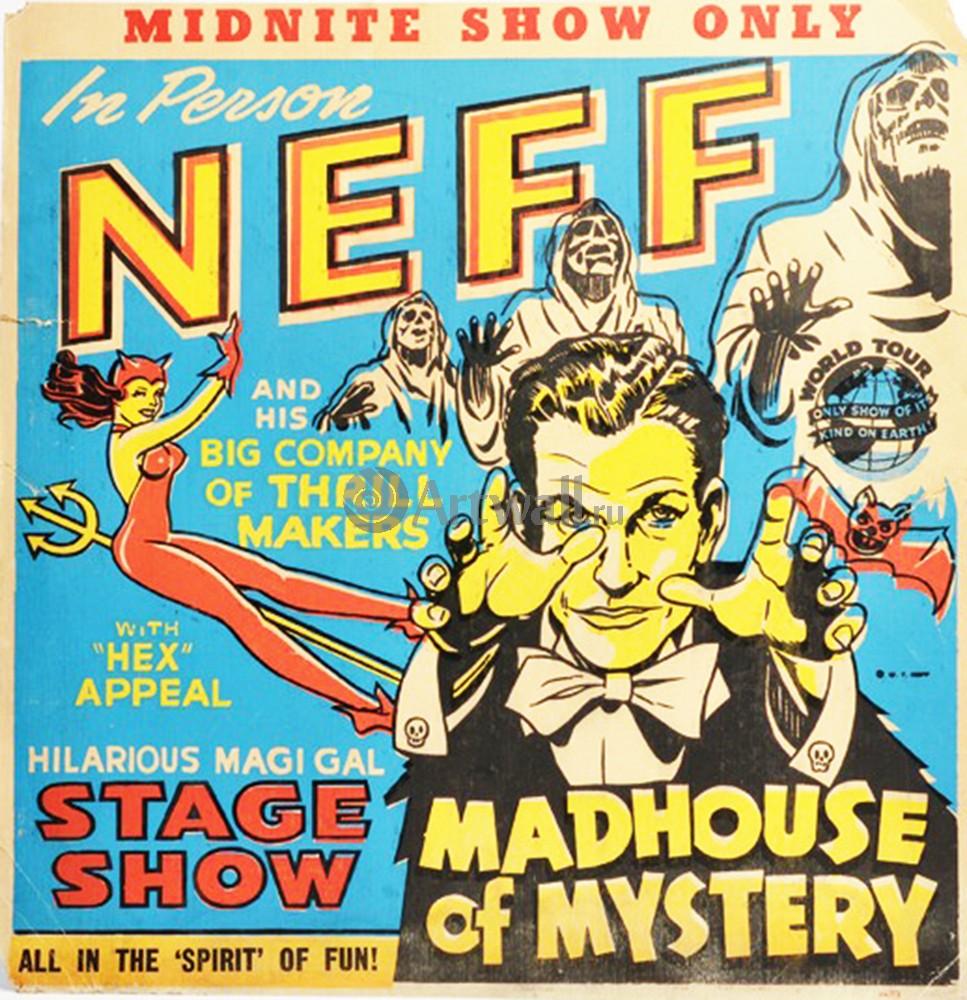 Плакат Плакат 20 века Midnite Show, Dr. Neff, Madhouse of Mystery, 20x21 см, на бумагеКино<br>Постер на холсте или бумаге. Любого нужного вам размера. В раме или без. Подвес в комплекте. Трехслойная надежная упаковка. Доставим в любую точку России. Вам осталось только повесить картину на стену!<br>