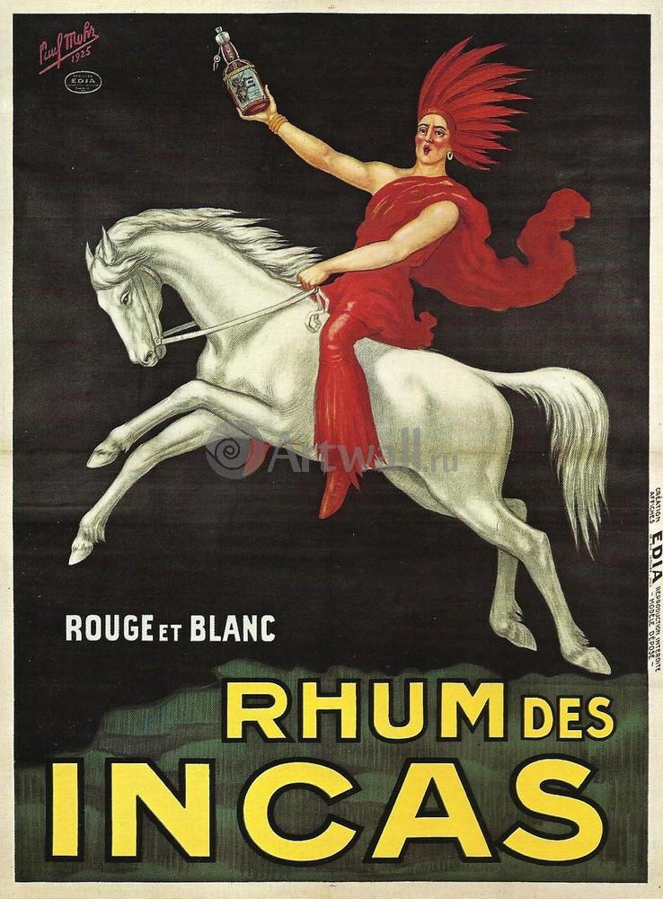 Плакат Плакат 20 века Rhum des Incas, Rouge et Blanc, 20x27 см, на бумагеФранция<br>Постер на холсте или бумаге. Любого нужного вам размера. В раме или без. Подвес в комплекте. Трехслойная надежная упаковка. Доставим в любую точку России. Вам осталось только повесить картину на стену!<br>