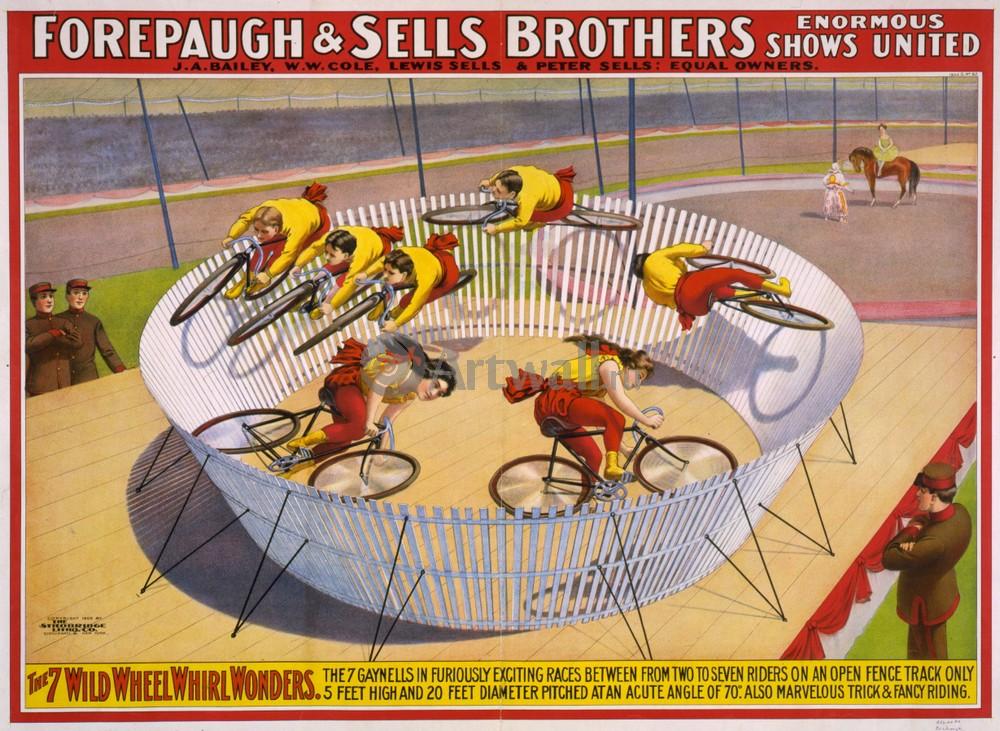 Плакат Плакат 20 века Forepaugh &amp; Sells Brothers, 7 Wild Wheel Whirl Wonders, 27x20 см, на бумагеЦирк<br>Постер на холсте или бумаге. Любого нужного вам размера. В раме или без. Подвес в комплекте. Трехслойная надежная упаковка. Доставим в любую точку России. Вам осталось только повесить картину на стену!<br>